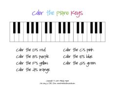 The Plucky Pianista: Color the Piano Keys Sheet