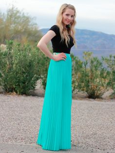 Mint Pleated Maxi Skirt Spring