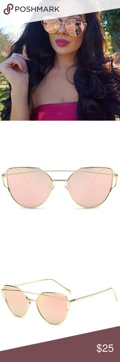 🆕Cat Eye Mirrored Sunglasses Pink Trendy sunglasses, pink with golden frame, with spectacle film, UV400, high quality. Please visit my closet for more colors. Accessories Glasses