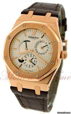 Audemars Piguet Royal Oak Dual Time w/ Power Reserve ,Silver Dial- Rose Gold