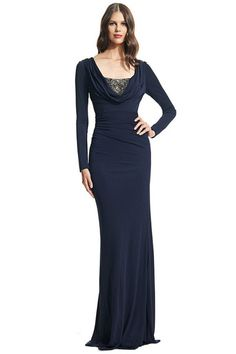 0423cefce79d4b Flattering gown with sleek ruching and twinkling beads. Cowlneck. Long  sleeves. Front beaded
