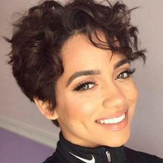 Curly beauties, this is the ideal place for you if you want to explore the wonderful curly short hair styles! With the most popular short haircuts. Pixie Cut Curly Hair, Curly Hair Styles, Long Curly Hair, Short Hair Cuts, Natural Hair Styles, Curly Girl, Curly Short, Wavy Pixie Haircut, Long Pixie