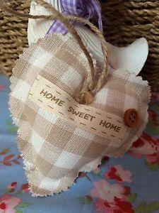 Beige-Gingham-Fabric-Home-Sweet-Home-Hanging-Heart-Handmade-Shabby-Chic-Vintage