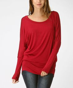 Another great find on #zulily! Burgundy Long-Sleeve Dolman Top - Women by Bellino #zulilyfinds