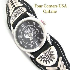 Men's Sterling Black Leather Watch Strap Native American Indian Navajo Jewelry…