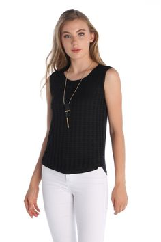 Kolye Aksesuarlı Dantel Kolsuz Bluz Siyah   Rays Giyim