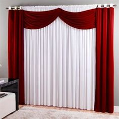 Cortina para Varão Sultan cm Realce Top Dubai Vermelho e Family Room Curtains, Stage Curtains, Window Drapes, Valance Curtains, Modern Curtains, Colorful Curtains, Red Living Room Decor, Bedroom Decor, Window Curtain Designs