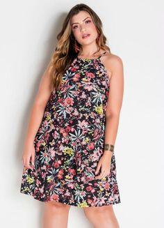Vestido Trapézio Plus Size Floral - Marguerite Vestido Casual, Floral, High Neck Dress, Gota, Dresses, Products, Fashion, Plus Size Girls, Big Sizes