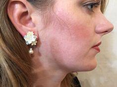 Handbeaded BRIDAL FLORAL EARRINGS by Vintage Designer Colleen Toland