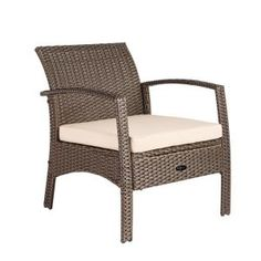 In Patio Lounge Chairs, Outdoor Lounge, Outdoor Seating, Outdoor Chairs, Wicker Armchair, Outdoor Armchair, Outdoor Cushions, Portable Fireplace, Brown Cushions
