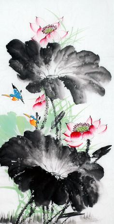 Painted by Wen Quanlin artist. Chinese Painting Flowers, Lotus Painting, China Painting, Silk Painting, Lotus Flower Pictures, Botanical Art, Botanical Illustration, Illustration Art, Style Asiatique