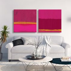 Bold pink abstract paintings by Linda Woods #art #abstract