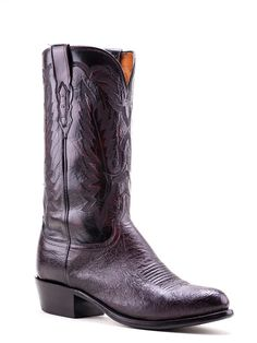 Mens Lucchese Black Cherry Smooth Ostrich Boots N9199.R4 - Texas Boot Company is located in Bastrop, Texas. www.texasbootcompany.com