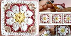 African Flower Square Tutorial