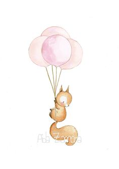 New screen illustration hands Ideas Cute Animal Drawings, Cute Drawings, Watercolor Animals, Watercolor Art, Baby Illustration, Printed Balloons, Kids Wall Decals, Nursery Art, Nursery Decor