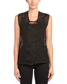 The Kooples Embroidered Silk Organza Top