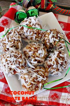 Coconut Date Balls are holiday treats made in a large skillet and rolled in coconut. The filling has dates, pecans, and Rice Krispies.