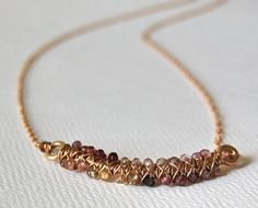 Smile Necklace  Multicolor Spinel with Yellow Gold by MarieCarter, $61.00