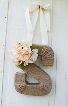 Rustic Twine Monogram Wreath with Ivory Hydrandea