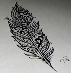Cute paisley feather tattoo