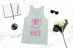 No Bad Vibes Jersey Tank Top / Hand lettering by PrintableHappies