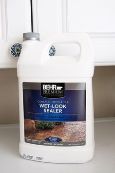 i bet you cld use this on other stuff for a high gloss wet look. Painted Concrete Floors, Painting Concrete, Stained Concrete, Concrete Patio, Basement Flooring, Kitchen Flooring, Behr, Stenciled Floor, Open Plan Kitchen