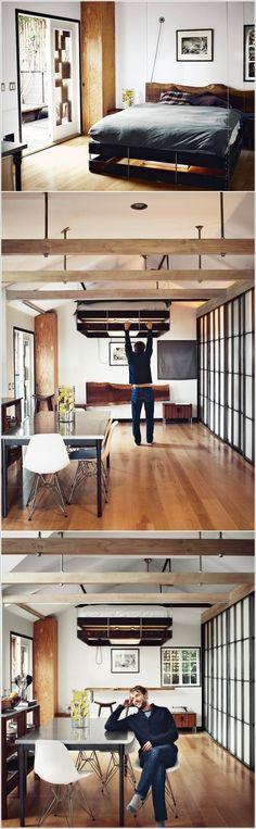 interior design, cabin, beds, studio apartments, bed designs, interior idea, bed linens, small space, bedroom