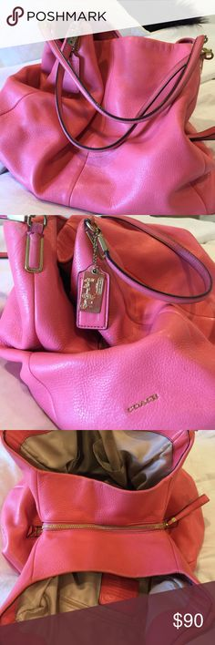 """Coach Madison Phoebe Pebbled poppy colored bag Authentic Coach poppy Madison leather Phoebe shoulder handbag. Features gold-tone hardware, dual flat leather top handles (7.5"""" drop), signature Coach leather and metal hang tags, and a top magnetic snap closure. Interior of handbag is lined in peach satin fabric with a center zipper pocket, a side zipper pocket, a side patch pocket, a cell phone/accessory pocket, and a pen pocket. Includes Coach dust bag. Coach Bags Shoulder Bags"""