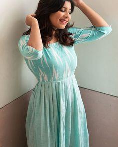 Sky blue ikat dress by Athira Designs Long Dress Design, Dress Neck Designs, Designs For Dresses, Kalamkari Dresses, Ikkat Dresses, Churidar Designs, Kurta Designs Women, Plain Kurti Designs, Designer Anarkali Dresses