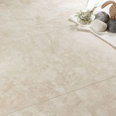 Tila Cream Travertine Tile Effect Laminate Flooring 1 m² Pack | Departments…