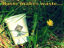 """Postkarte """"Eile mit Weile"""" von Trashography Haste makes waste..."""