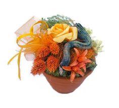 Szárazvirág asztaldísz cserépben, barack színű rózsával Planter Pots