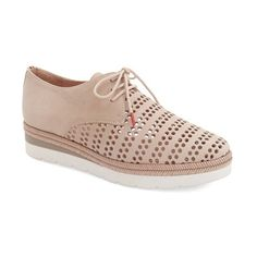 """Hispanitas 'Laken' Perforated Platform Derby, 1 1/2"""" heel ($265) ❤ liked on Polyvore featuring shoes, oxfords, nougat leather, lace up shoes, platform lace up shoes, fleece-lined shoes, mid heel shoes and lace up oxfords"""
