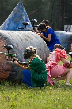 Find the worst bridesmaid dress you can at a thrift store and play paintball for your bachelorette party...this would be hilarious to just go out to eat in!