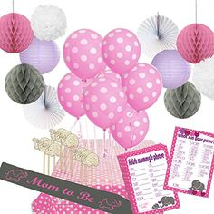 """Stork Station - """"Elephant Love"""" Baby Shower Decoration Kit (44 pieces, Pink and Gray, Elephant-theme, for girls) - 2 Baby Shower Games - Mom-to-be Sash - Paper Decorations"""