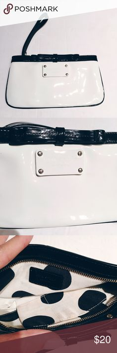 KATE SPADE BLACK AND WHITE WRISTLET Patent leather clutch. Used for a weeding. Great condition. kate spade Bags Clutches & Wristlets