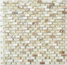 Millenium Products  North Shore Series, Uniform Brick, Pearl Beach, Glossy & Frosted, Cream/Beige, Glass, Stone & Shell