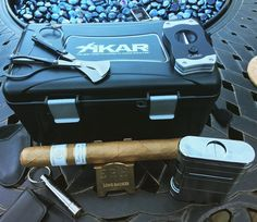 I think I am ready to hang with the big boys now. I got everything I need for traveling with my cigars. I have my Xikar #travel case lighter and cutter Colibri v-cutter Lonesmoker stand and keychain punch. Also after a long day of work I will enjoy a light smoke with this Rocky Patel Vintage 1999 My moment of #zen  #namaste #priceless #cigar #cigars #cigarlife #cigarlifestyle #cigarlover #cigarlife_ #cigarporn  #cigarphotography #cigaraficionado  #cigaroftheday  #cigaraddict  #cigarart…