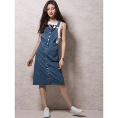 Choies Blue Button Up Denim Overall Dress ($25) ❤ liked on Polyvore featuring dresses, blue, blue day dress, button up dress, blue dress, denim button up dress and brown dress