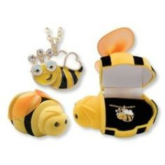 """Unique and fun! """"In The Box"""" Bumble Bee Pendant. Hand painted pendant necklace in the most adorable gift box! Makes a great gift for children ! Hand painted pendant. Hinged velour Bee shaped gift box"""