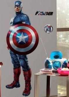 Captain America Wall Design Mural Custom Boys Bedroom Avengers