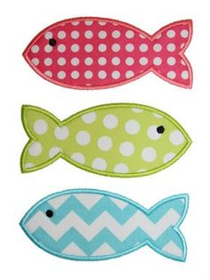 Fishes Applique Design Source by etsy. Free Applique Patterns, Machine Applique Designs, Baby Applique, Baby Quilt Patterns, Machine Quilting Designs, Applique Templates, Sewing Appliques, Applique Quilts, Embroidery Applique