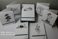 6 note cards & gift box. Images © Stampin' Up! stamp sets: Just Believe, Thoughts & Prayers, Morning Meadow, Serene Silhouettes & World of Dreams. Stamped with StazOn. Used clear EP, black & white twine, nail heads. Idea from Pootles Uk, I just used different images.