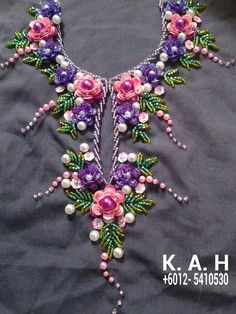 New embroidery dress diy haute couture Ideas Hand Embroidery Dress, Tambour Embroidery, Embroidery Neck Designs, Hand Embroidery Videos, Bead Embroidery Patterns, Hand Embroidery Stitches, Silk Ribbon Embroidery, Embroidery Jewelry, Diy Embroidery