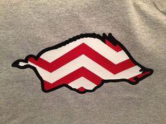 Arkansas Razorback with Chevron Stripes shirt by KrisTEEsDesign, $20.00