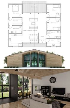 Drawing of a house: Floor Plan Small House Floor Plans, Home Design Floor Plans, New House Plans, Dream House Plans, Modern House Plans, Container House Plans, House Blueprints, Sims House, House Layouts