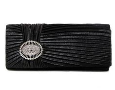 BLACK SATIN RUFFLE CLUTCH BAG WITH DIAMANTE BUCKLE, £9.99