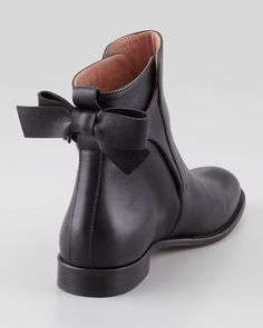 Bow Back Flat Ankle Bootie, Black