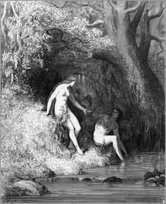 Before their corruption, Adam and Eve drink from a stream and share a piece of fruit together while Satan watches them in secret, envious of their happiness.