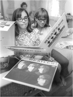Beatles records 1965. Look at the glasses we wore. My first glasses were shaped the same only white with silver flecks!  Oh my!